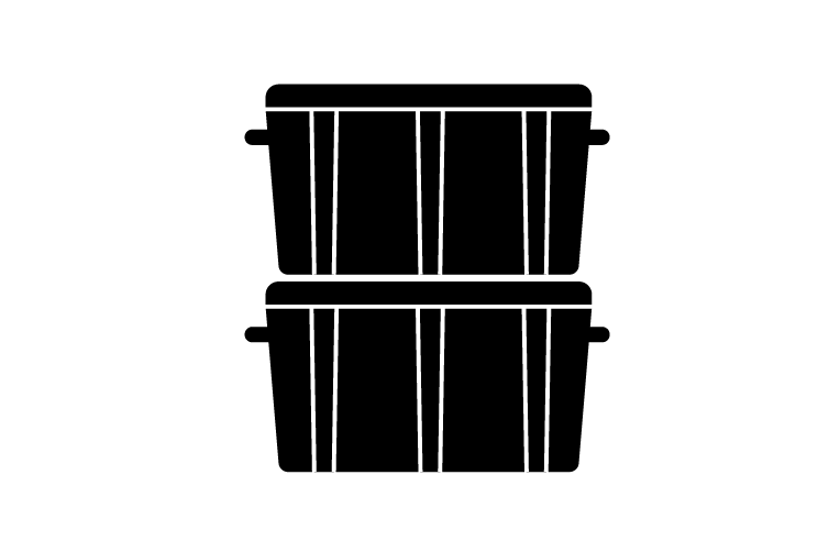 Two black plastic moving crates stacked